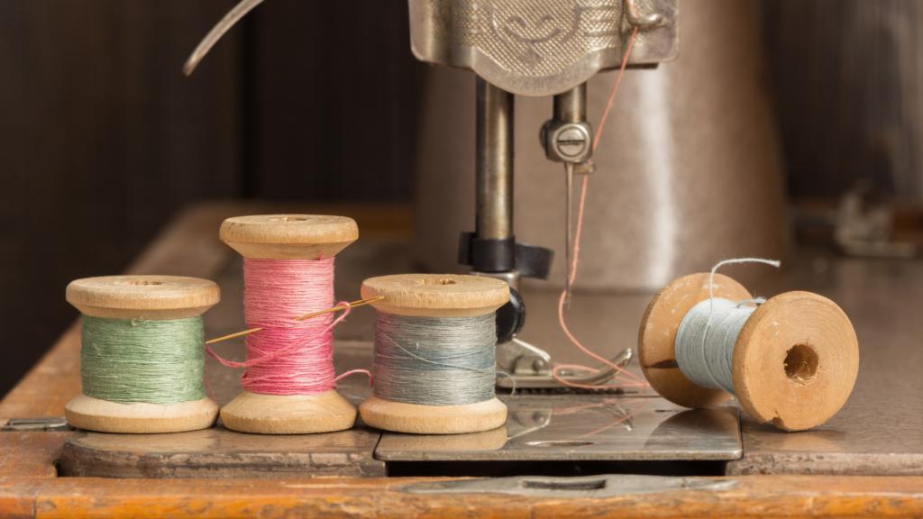 Sewing machine thread wound up on a bobbin